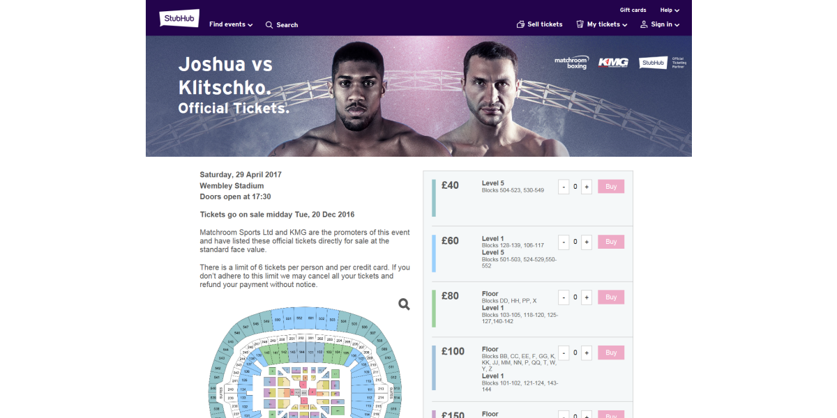 matchroom boxing price point page